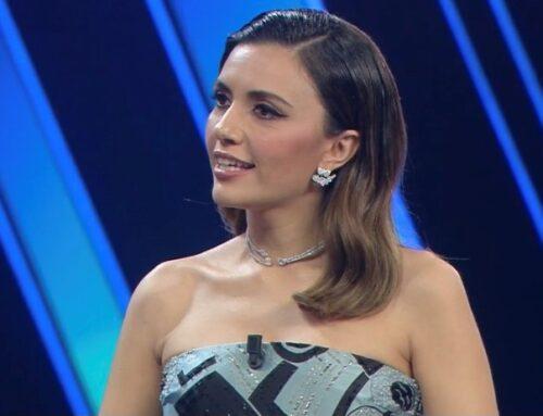 Serena Rossi sul palco dell'Ariston presenta il suo nuovo programma